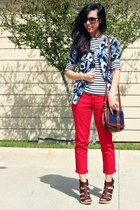 red Forever 21 pants - Old Navy bag - Target cardigan - navy Forever 21 top