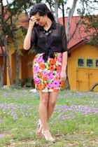 black Forever 21 top - carrot orange Victorias Secret dress
