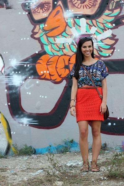 bronze Forever 21 sandals - navy Old Navy bag - carrot orange Forever 21 skirt