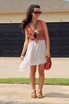 salmon Fossil bag - ivory polka dots cotton on dress - beige Target sandals