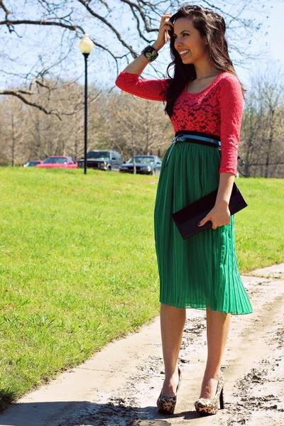 green Forever 21 skirt - turquoise blue Forever 21 belt - coral Forever 21 top
