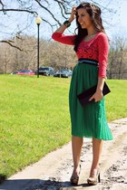 green Forever 21 skirt - turquoise blue Forever 21 belt - coral Forever 21 top