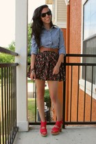 blue gingham thrifted top - red GoJane wedges - black floral Forever 21 skirt