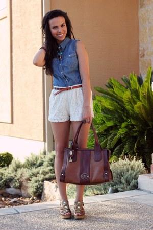 Fossil bag - francescas shorts - Target wedges - Forever 21 top