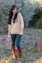 red Target socks - tawny DSW boots - green Forever 21 jeans - gold Macys sweater