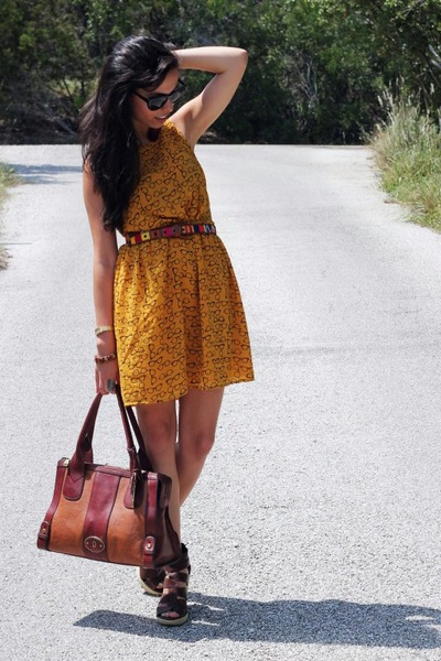 Fossil bag - mustard Forever 21 dress - brown Target wedges - thrifted belt