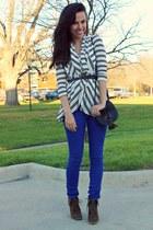 blue Target pants - brown Target boots - black H&M bag - Forever 21 belt