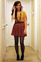 ruby red Forever 21 skirt - black Target shoes - fredflare tights