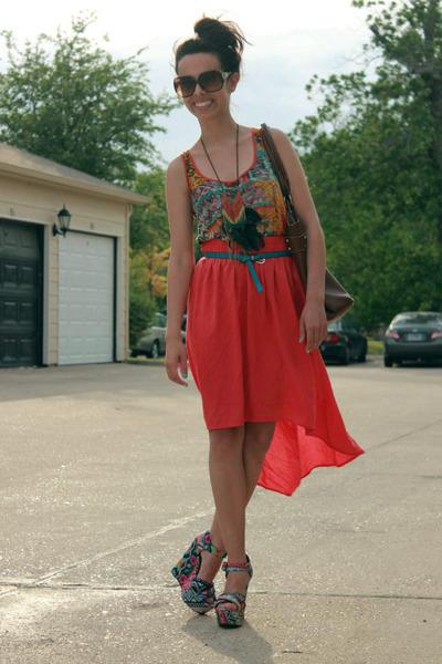 Steve Madden wedges - Aldo sunglasses - coral cotton on skirt