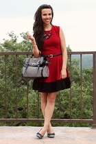 ruby red Sugarlips dress - Aldo bag - black kohls heels