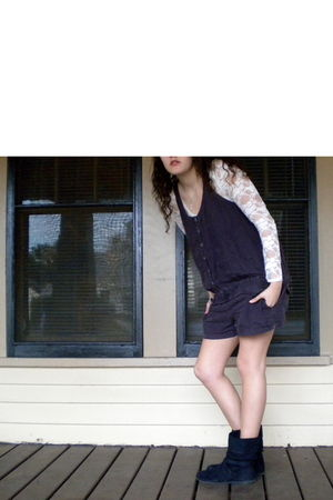 white Bozzolo blouse - purple Victorias Secret dress - black Lower East Side boo