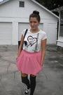 White-forever-21-shirt-pink-zara-skirt-gray-target-socks-black-candies-sho