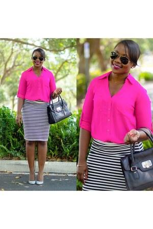 hot pink Express shirt - black Old Navy skirt