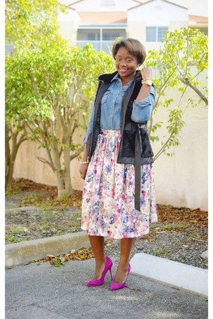 asos skirt - hot pink Boutique 9 shoes - blue J Crew shirt - black Guess vest