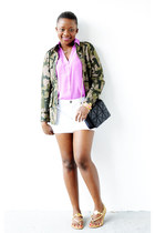 Target jacket - Express shirt - JCrew Factory shorts - tory burch sandals