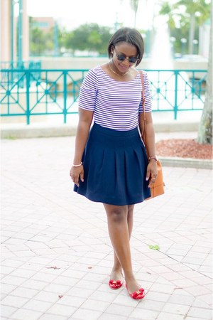 red flats - banana republic top - blue J Crew skirt