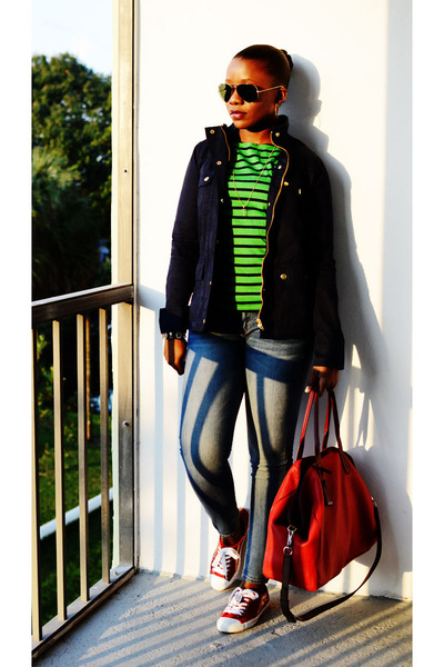 JCrew shirt - Express jeans - JCrew jacket - Cole Haan bag - Cole Haan sneakers