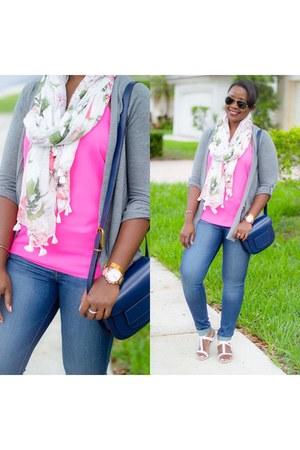 scarf - navy bag - hot pink Express top - silver Express cardigan