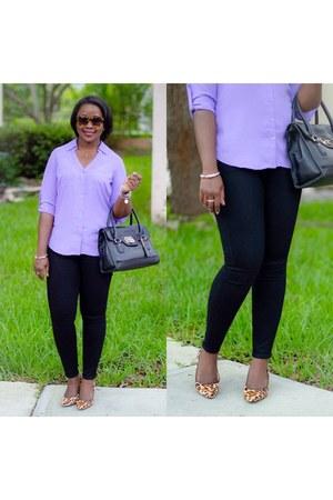 black Gap jeans - violet Express shirt