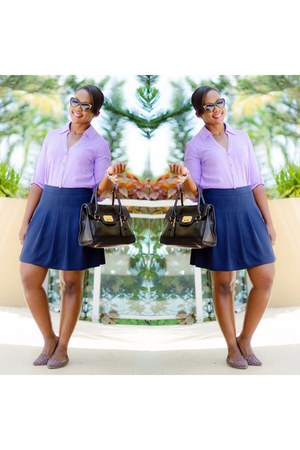 amethyst Express shirt - navy J Crew skirt