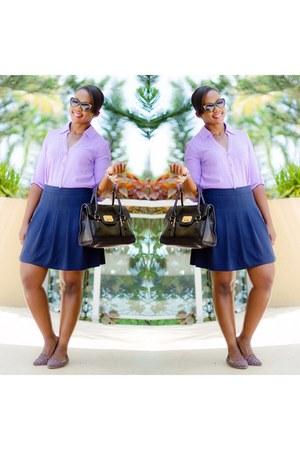 amethyst Express shirt - navy J Crew skirt