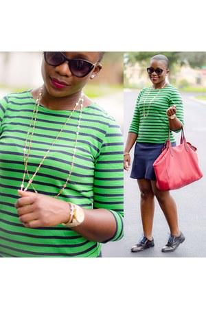 green top - blue J Crew skirt
