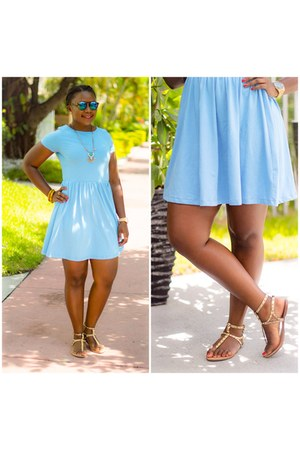 sky blue asos dress - gold Dolce Vita sandals