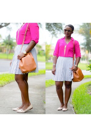 hot pink Express shirt - J Crew skirt