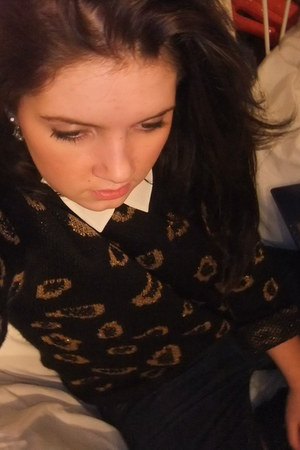 leopard print Primark jumper - white collar asos accessories