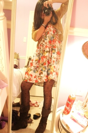 forever 21 blazer - forever 21 dress - Betsey Johnson tights - Chinese Laundry s