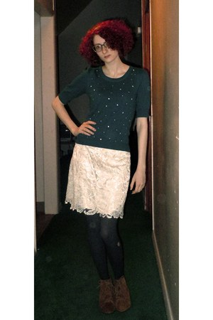 teal H&M sweater - tawny Urban Outfitters boots - gray kohls tights