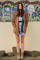white vintage dress - camel Pulp boots - bronze vintage coat