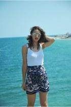 blue handmade skirt - white Local store shirt
