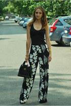 silver vintage pants - black Hermes bag - black H&M Trend t-shirt