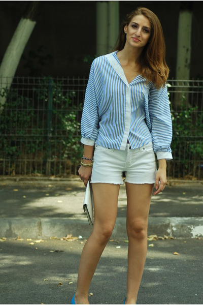 blue H&M shoes - light blue Vintage Thrifted shirt - white Local store shorts