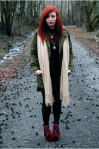 black asos dress - army green Zara jacket - crimson Jeffrey Campbell heels