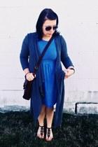 sky blue asos dress - silver thrifted sunglasses