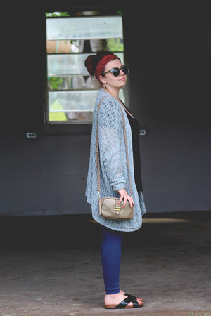 light blue woven knit free people cardigan - beige thrifted vintage bag