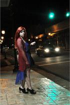 black leather gold Steve Madden bag - blue hi-lo francescas dress
