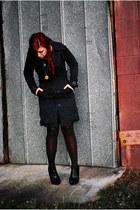 velvet thrifted dress - H&M jacket - striped thrifted stockings