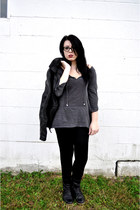 black fall H&M pants - black thrifted boots - black leather fall H&M jacket