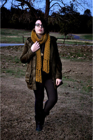 black Gap sweater - army green Zara jacket - dark gray thrifted tights