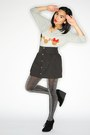 Heather-gray-minnie-muse-sweater-black-skirt-black-suede-wedge-shoes-silve