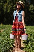 red vintage skirt as dress dress - blue Gap Kids vest - yellow H&M straw hat hat