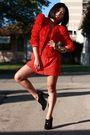 Red-h-m-garden-collection-blazer-red-vintage-dress-black-random-shoes-gold