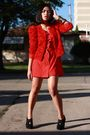 Red-h-m-garden-collection-blazer-red-vintage-dress-black-random-shoes-gold