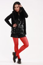 black Sequin top - black cardigan - black Faux fur scarf - red mesh leggings - b
