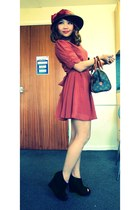vintage hat hat - local store dress - bag - from ebay wedges