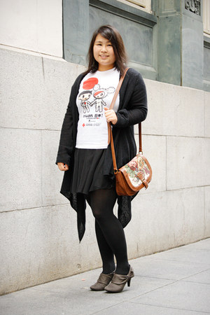 white tokidoki t-shirt - charcoal gray JCPenney boots - black H&amp;M dress