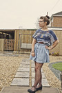 Gray-primark-tights-light-blue-h-m-skirt-navy-topshop-top